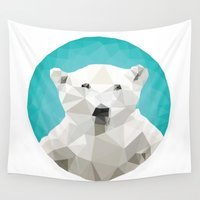 triangles Wall Tapestries featuring ♥ SAVE THE POLAR BEARS ♥ by ℳixed ℱeelings
