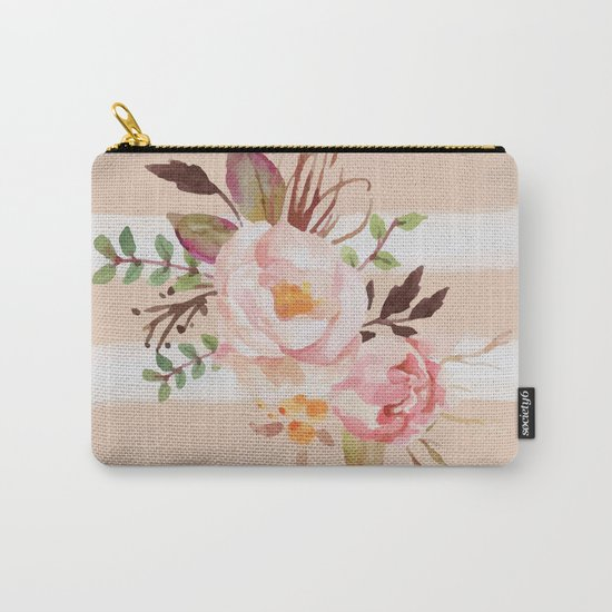 Roses and strips Carry-All Pouch