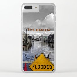 Flooded Outdoor Market in Sebastopol, California Colore/Black & White Mashup Clear iPhone Case