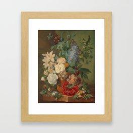 Flowers in a Terra Cotta Vase by Albertus Jonas Brandt Framed Art Print