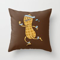 health Throw Pillows featuring Health Nut by Jelly Soup Studios