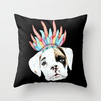 puppy Throw Pillows featuring Puppy by 13 Styx