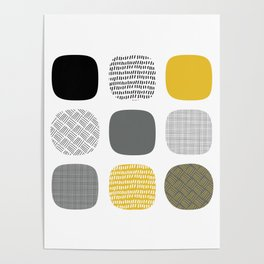 Abstract in mustard and grey Poster