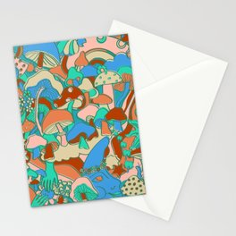 Magical Mushroom World in Mint + Maroon  Stationery Cards