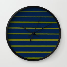 Slate Blue and Antique Green Gold Stripes Wall Clock