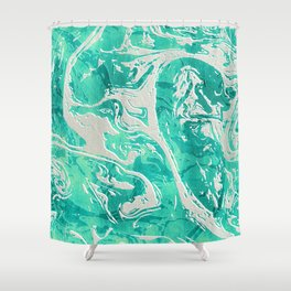 Abstract Ultra Aquamarine Marble Shower Curtain