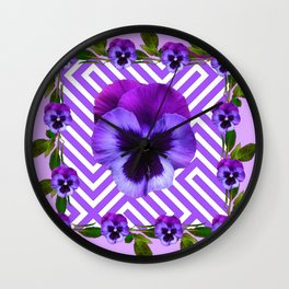 LILAC PURPLE ON PURPLE PANSIES  FLOWERS PATTERNS Wall Clock