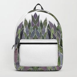 Plants decorations shades of green and purple watercolor Backpack