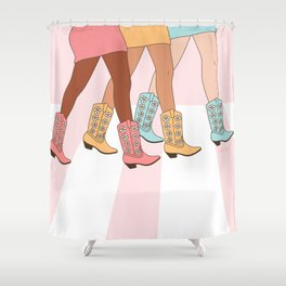 Sisters With Western Rodeo Cowgirl Boots, Girls Walking, Friendship Art in Pastel Pink, Mustard and Blue Colors Shower Curtain