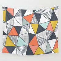 triangles Wall Tapestries featuring Triangles by Patterns and Textures