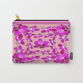 Fuchsia Purple-Pink Tropical Orchids Asian Abstract Carry-All Pouch