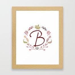Floral B letter Framed Art Print