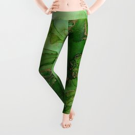 Abstract Bloom Green Gold Cactus Ink Leggings