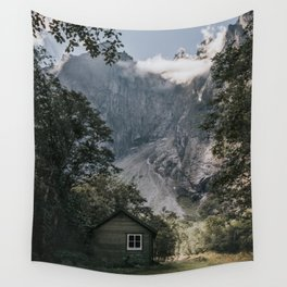 Mountain Cabin - Landscape and Nature Photography Wall Tapestry