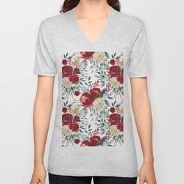 Botanical red ivory pastel blue hand painted floral Unisex V-Neck