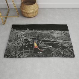Madrid in black and white from cibeles Rug