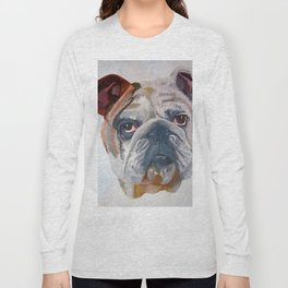 American Bulldog Portrait: Yale Mascot Long Sleeve T-shirt