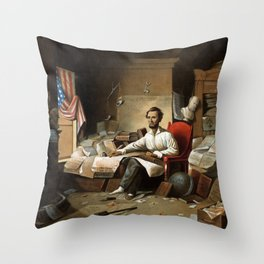Lincoln Writing The Proclamation Of Freedom Throw Pillow