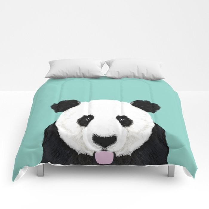 Panda - mint - cute black and white animal portrait,  design, illustration, animal cell phone, case, Comforters
