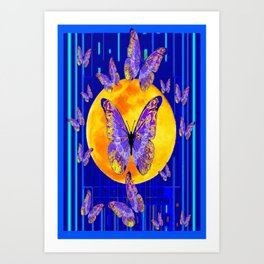 Lilac Patterned Butterfly Full Moon Abstract Art Print