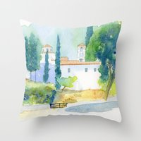 greek Throw Pillows featuring Greek monastery by Carl Conway