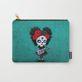 Day of the Dead Girl Playing Greek Flag Guitar Carry-All Pouch