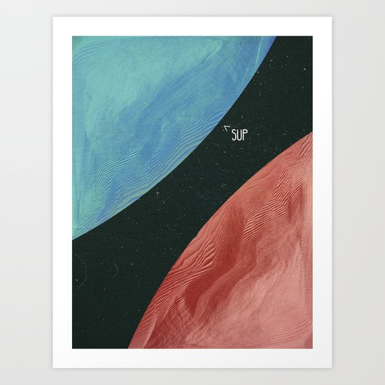Earth collides with mars Art Print