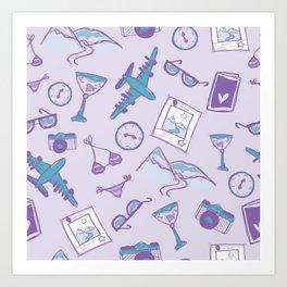 World travel memories sketch pattern Art Print