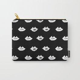 Linocut lips minimal black and white makeup fashion pattern printmaking lip Carry-All Pouch