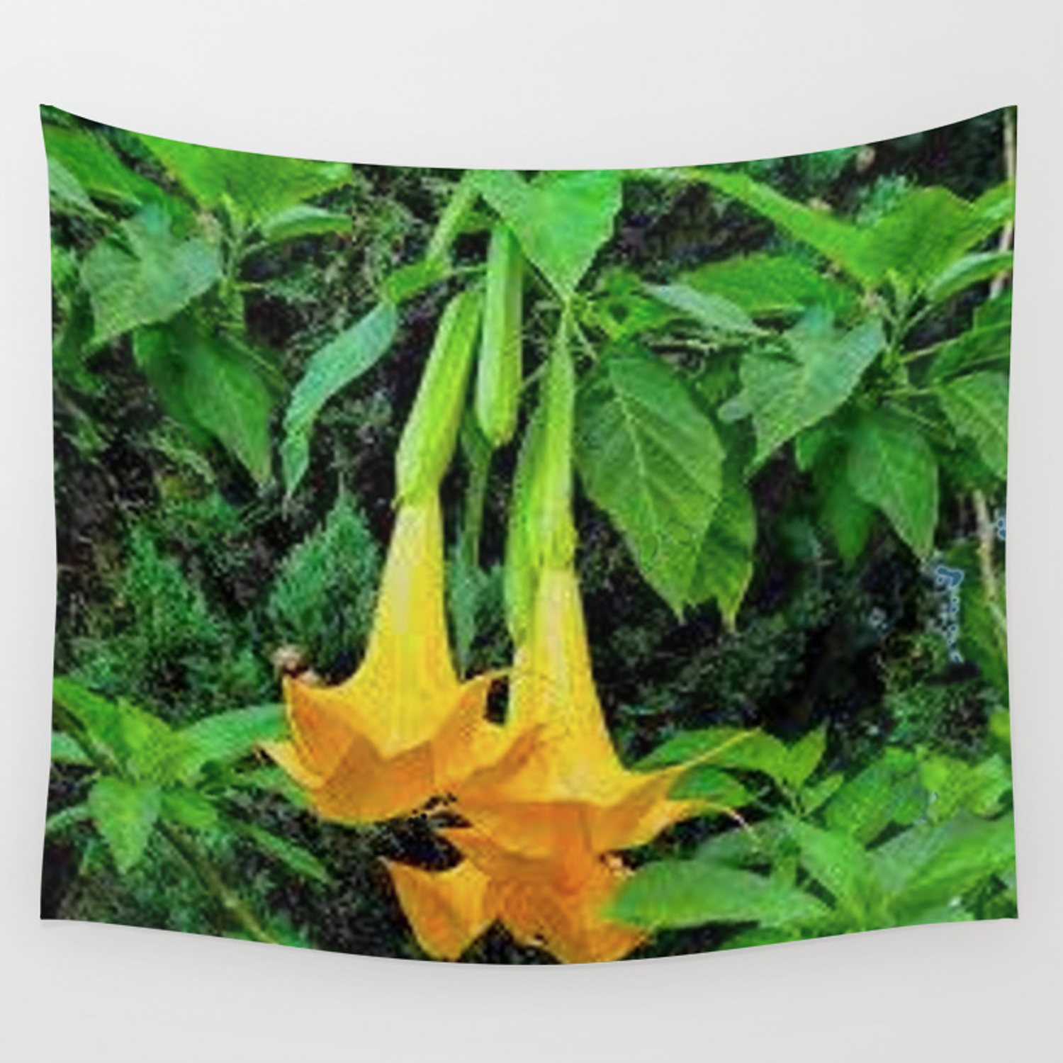 Tropical Golden Angel Trumpet Flowers Wall Tapestry By Sharlesart