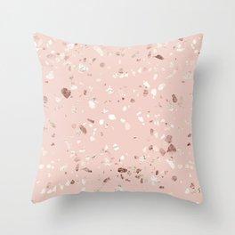 Blush Pink + Rose Gold Terrazzo Throw Pillow