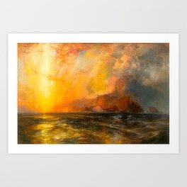 Majestic Golden-Orange Sunset Over the Troubled Atlantic Ocean landscape by Thomas Moran Art Print