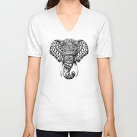 bioworkz V-neck T-shirts featuring Ornate Elephant Head by BIOWORKZ