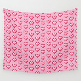 pink pixel hearts Wall Tapestry