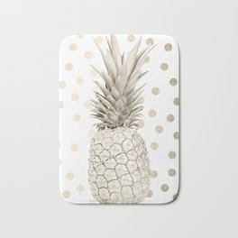 Gold Pineapple Polka Dots 1 Bath Mat