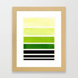 Sap Green Minimalist Mid Century Modern Color Fields Ombre Watercolor Staggered Squares Framed Art Print