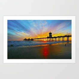 Sunset Huntington Beach Pier   Art Print