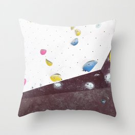 Geometric abstract free climbing bouldering holds pink yellow Throw Pillow