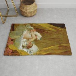 "Jean-Honoré Fragonard ""Girl with a dog (Jeune fille dans son lit, faisant danser son chien)"" Rug"