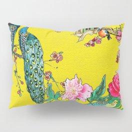 Vintage Oriental Peacocks, Peonies, Birds & Pagodas Print Pillow Sham