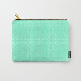 Aquamarine and White Interlocking Square Pattern Carry-All Pouch