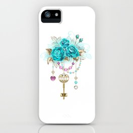 Turquoise Roses with Keys iPhone Case