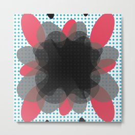 Abstract Dotty Floral Burst Pattern Metal Print