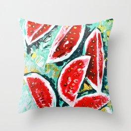 watermelon acrylic art Throw Pillow