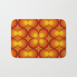 70s Circle Design - Orange Background Bath Mat