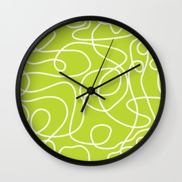 Doodle Line Art | White Lines on Bright Lime Green Wall Clock