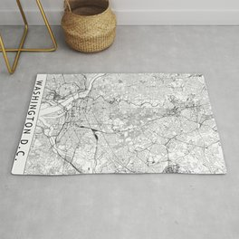 Washington D.C. White Map Rug