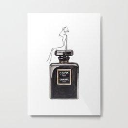 Classic Black Parfum with girl Metal Print