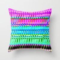 glitch Throw Pillows featuring glitch by Valeria Prada