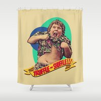 goonies Shower Curtains featuring Truffle Shuffle! by Silvio Ledbetter